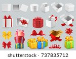 gift boxes with bows. 3d set of ... | Shutterstock .eps vector #737835712