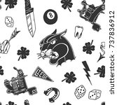 seamless pattern with... | Shutterstock .eps vector #737836912