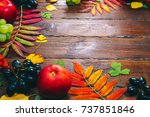 Small photo of Autumn background with yellow, with bright leaves, pine cones, chestnuts and berries. Frame autumn harvest on seasoned wood with free space. The layout offers and seasonal holiday card