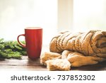 christmas hot coffee in red cup ... | Shutterstock . vector #737852302