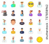 people icons set. cartoon set... | Shutterstock . vector #737858962