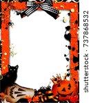 vector halloween picture frame... | Shutterstock .eps vector #737868532