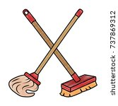 mop and brush icon | Shutterstock .eps vector #737869312