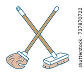 mop and brush icon | Shutterstock .eps vector #737870722