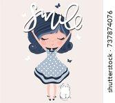 little cute girl with a cat.  | Shutterstock .eps vector #737874076