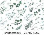 seamless pattern of eucalyptus... | Shutterstock .eps vector #737877652