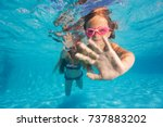 two little girls diving... | Shutterstock . vector #737883202