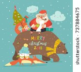 santa claus riding on the back... | Shutterstock .eps vector #737884675