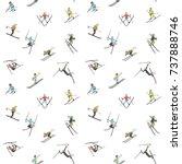 seamless pattern. winter skiing ...   Shutterstock .eps vector #737888746