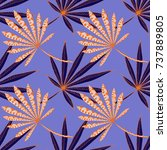 bright exotic leaves. seamless... | Shutterstock .eps vector #737889805