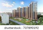 modern residential complex  3d... | Shutterstock . vector #737890192
