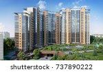 modern residential complex  3d... | Shutterstock . vector #737890222