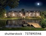 boarding house by the river ...   Shutterstock . vector #737890546