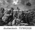 american soldiers on field of... | Shutterstock . vector #737892028