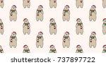 bear polar santa hat christmas...   Shutterstock .eps vector #737897722