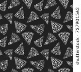 pieces of pizza seamless...   Shutterstock .eps vector #737901562