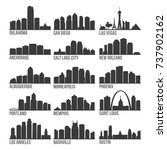 most famous usa cities skyline... | Shutterstock .eps vector #737902162