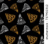 pieces of pizza seamless...   Shutterstock .eps vector #737902312