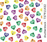 a pattern of colored hearts...   Shutterstock .eps vector #737911432