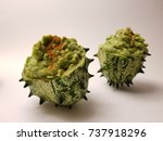 Small photo of African Horned Cucumber filled with Guacamole