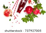 top view of pomegranate juice... | Shutterstock . vector #737927005