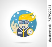diver leisure detailed flat icon   Shutterstock .eps vector #737927245