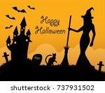 black silhouettes halloween... | Shutterstock .eps vector #737931502