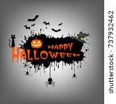 banner happy halloween on... | Shutterstock .eps vector #737932462