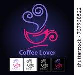 vector abstract  coffee lover... | Shutterstock .eps vector #737938522