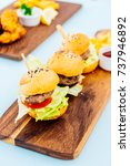 mini beef hamburger with french ... | Shutterstock . vector #737946892