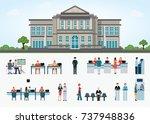 bank building exterior in... | Shutterstock .eps vector #737948836