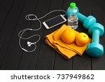 sports colorful equipments on a ... | Shutterstock . vector #737949862