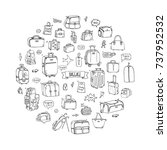 hand drawn doodle baggage icons ... | Shutterstock .eps vector #737952532