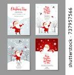 santa claus winter cards set | Shutterstock .eps vector #737957566