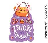 halloween party. cute... | Shutterstock .eps vector #737966122