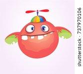 cartoon baby monster in funny... | Shutterstock .eps vector #737970106