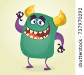 happy cute cartoon cute monster.... | Shutterstock .eps vector #737970292