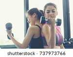 fitness people doing exercises... | Shutterstock . vector #737973766