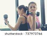 fitness people doing exercises... | Shutterstock . vector #737973766