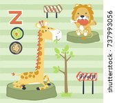 cute animals meal time  vector... | Shutterstock .eps vector #737993056