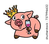 cartoon pig with crown and... | Shutterstock .eps vector #737996632