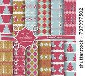 set of seamless christmas... | Shutterstock .eps vector #737997502