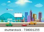transportation city traffic and ...   Shutterstock .eps vector #738001255
