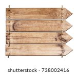 wooden sign isolated on a white ... | Shutterstock . vector #738002416