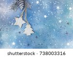wooden christmas holiday... | Shutterstock . vector #738003316
