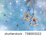 wooden christmas decorations... | Shutterstock . vector #738003322