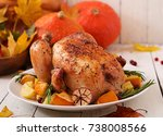 roasted turkey garnished with... | Shutterstock . vector #738008566