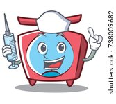 nurse scale character cartoon... | Shutterstock .eps vector #738009682