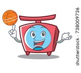 with basketball scale character ... | Shutterstock .eps vector #738009736