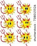 cartoon devil sun with... | Shutterstock .eps vector #738015526